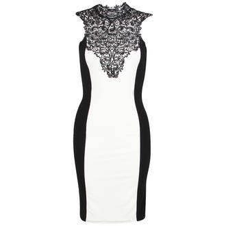 View Item White Sleeveless Bodycon Panel Dress with Lace Detail